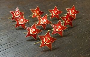 10-pcs-Russian-Military-Badge-Army-USSR-Soviet-Red-Star-on-a-Cap
