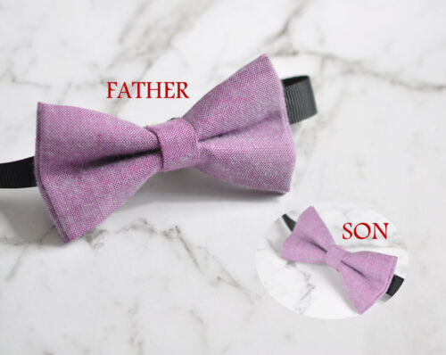 Father Son Match 100/% Cotton Handmade Mottled Pink Bow Tie Bowtie Wedding