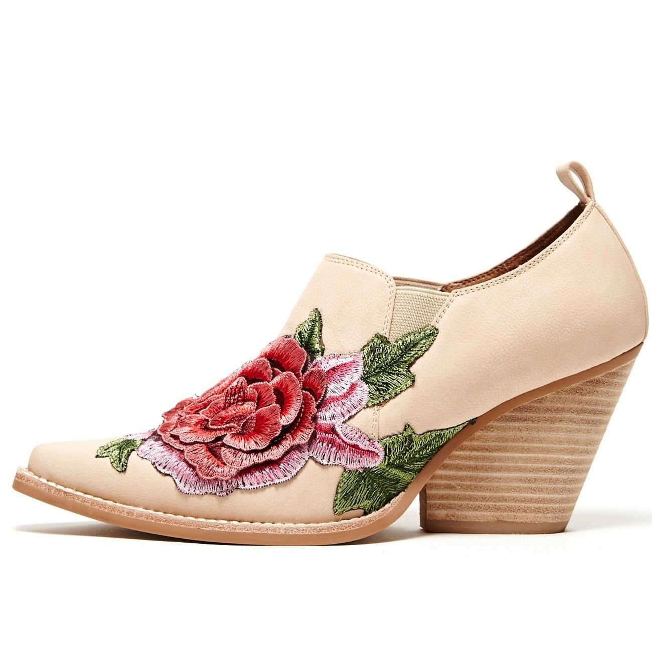 Jeffrey Campbell Free People pinkola pink Ankle Boots Nude Studded Floral Sz 7