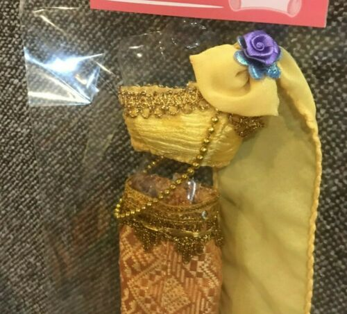 Barbie doll dress Vintage Thai dress beautiful crafts,Gold with Purple or Red