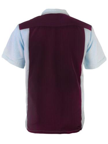 Men/'s Classic Two Tone Casual Guayabera Bowling Button Up Dress Shirt