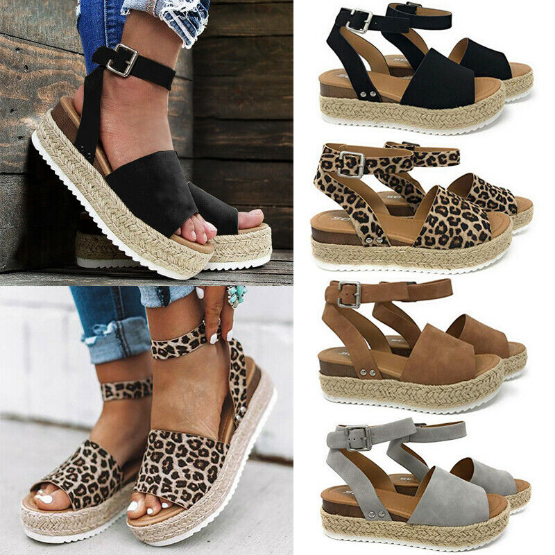 US Women's Ankle Strap Flatform Wedges Shoes Espadrilles Summer Platform Sandals 1