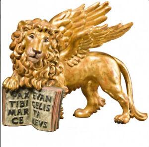 LEONE-DI-SAN-MARCO-Oro-Foglia-Anticato-St-MARK-039-S-LION-cm-25-Gold-Leaf