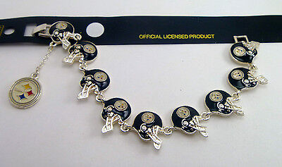 Pittsburgh Steelers 3D Helmets 10 Charms Bracelet  - NFL Licensed Jewelry