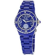 Haurex Italy Women's PB342DBS Make Up Crystal Ring M-O-P Subdial Blue Watch