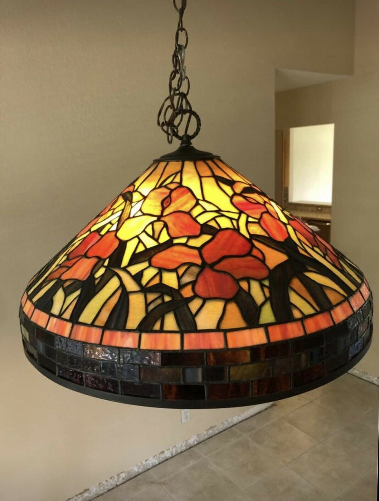 Tiffany Style Vintage Hanging Ceiling Lamp Stained Glass Light Chandelier 28in For Sale Online