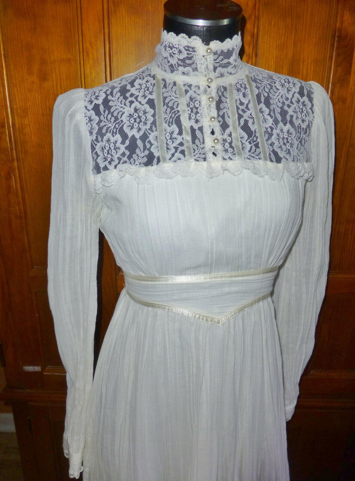 Vintage 70s GUNNE SAX Gauze Cotton Lace Prairie C… - image 3