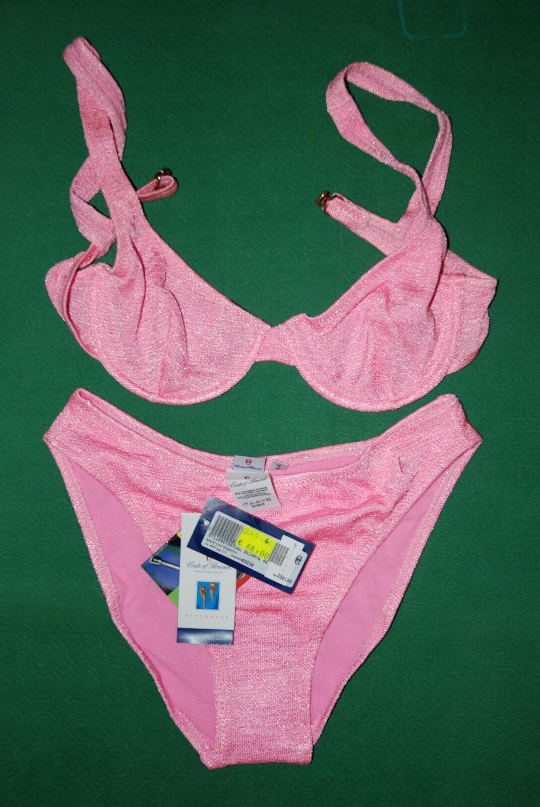 Vintage CONTE OF FLORENCE bikini ricamo Swim wear Suit 46 BNWT NOS floreal lycra