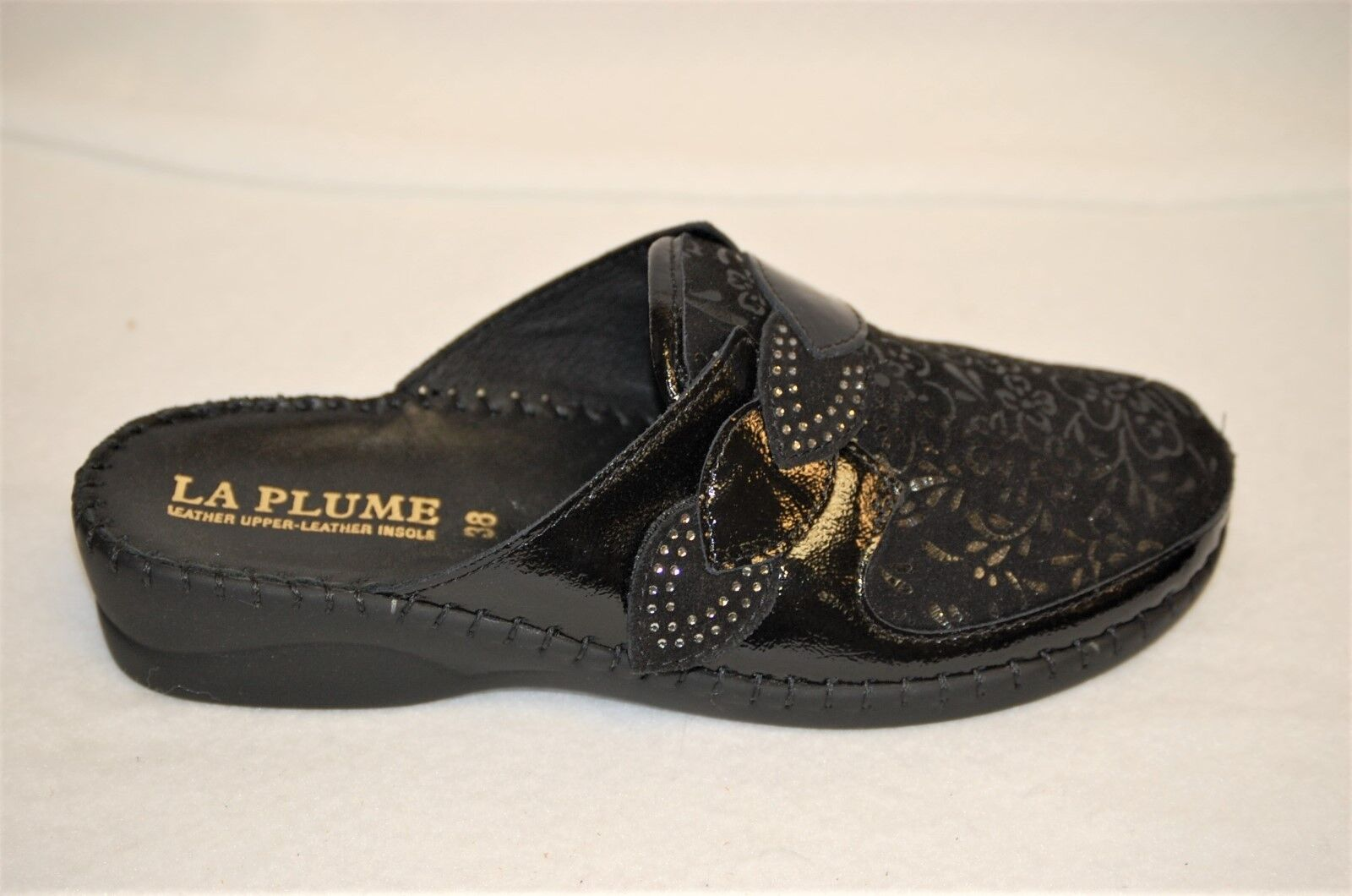 La Plume Garden nero Patent Leather and embossed suede slip on Eur 36