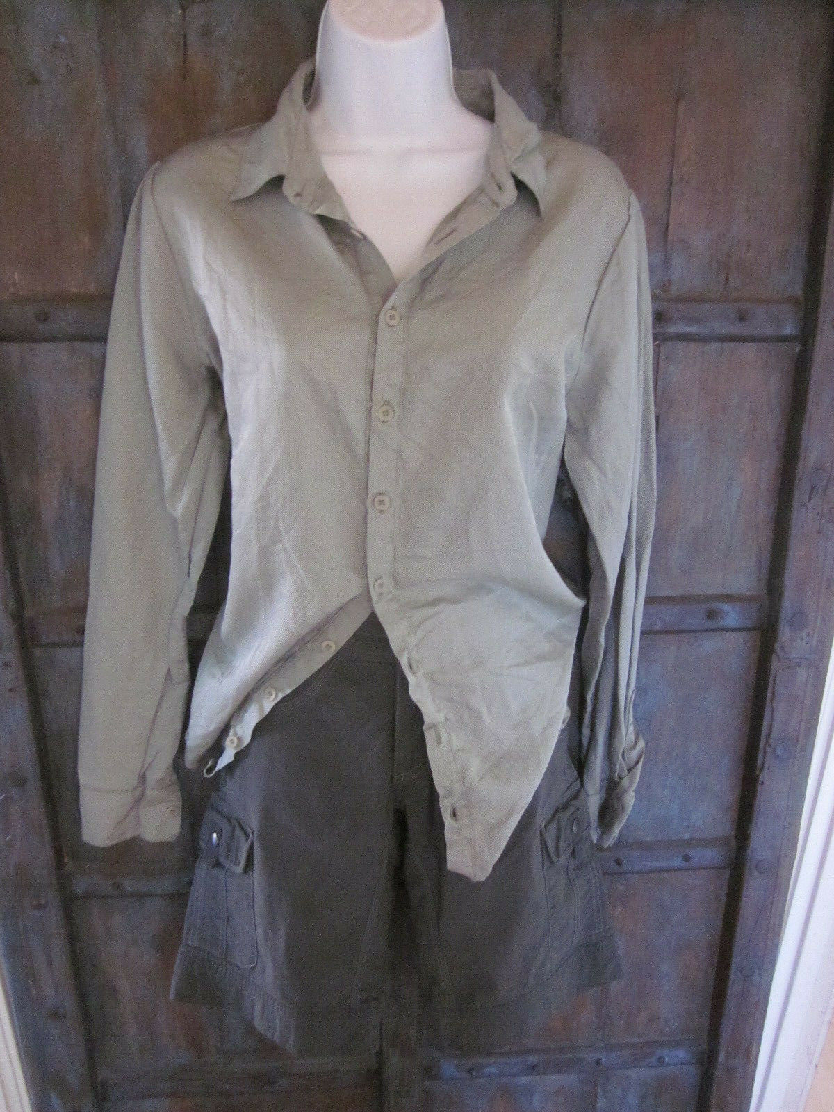 CP Shades damen Cotton Silk Long Sleeve Button Shirt Top Größe Large Sage Grün