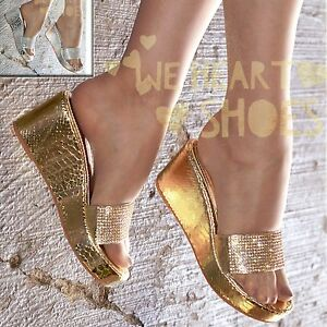 23d8e047d62 Ladies Low heel Wedges Diamante Mules Sparkly Flip flop Platform ...