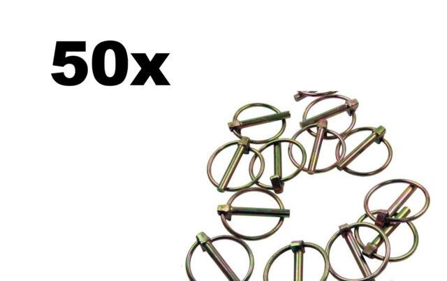 50 x Klappsplinte 8 mm Klappstecker Splinte Stahl gelb verzinkt