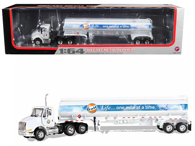 International 8600  Gulf  avec 42' Fuel Tank Trailer 1 64 Diecast modèle par First