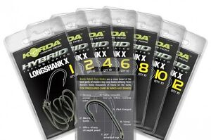 Korda-NEW-Long-Shank-X-Carp-Fishing-PTFE-Hooks-Barbed-Barbless