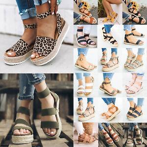 Women-Ankle-Strap-Espadrilles-Sandals-Platform-Peep-Toe-Buckle-Beach-Casual-Shoe