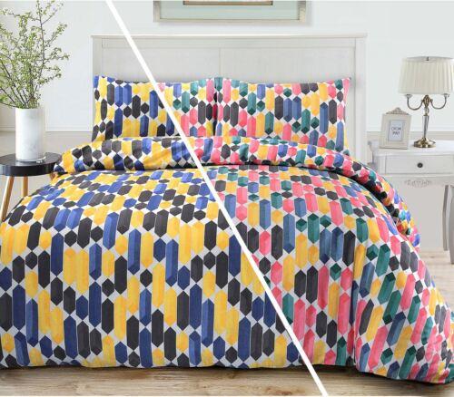 Contemporary Multi Colour Geometric Pattern Duvet Quilt Cover Bedding Set