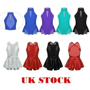 UK-Kids-Girls-Sequins-Modern-Jazz-Tap-Dancewear-Gymnastics-Ballet-Leotard-Dress