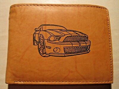 Mens Leather Bi-Fold Wallet w// 2006 ROUSH MUSTANG Image *Great Gift*