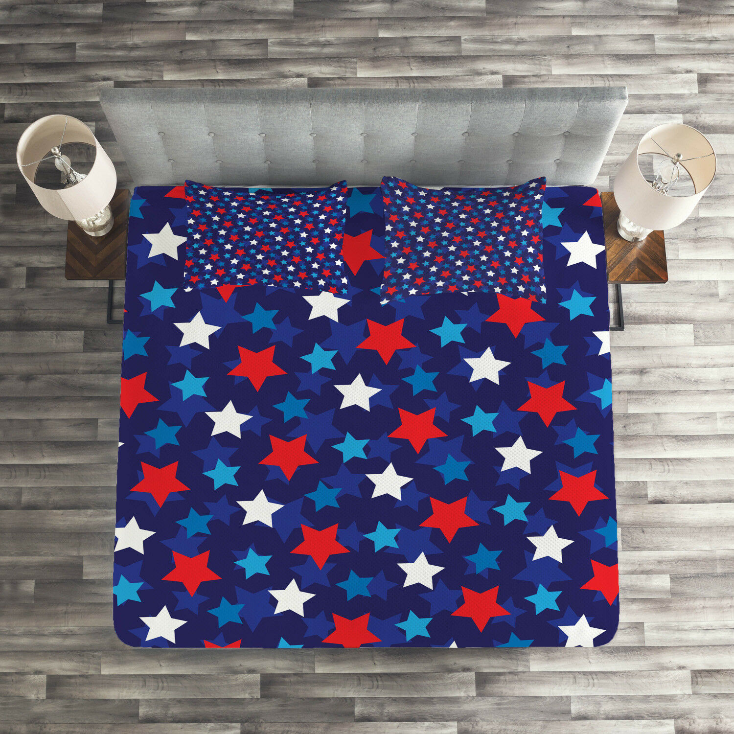 Patriotic Quilted Coverlet & Pillow Shams Set, American Flag Stars Print