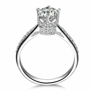 QUEEN-925-STERLING-SILVER-CZ-ENGAGMENT-RING-WEDDING-BAND-WOMEN-039-S-SIZE-3-12-SA041