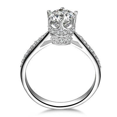 CROWN CZ STERLING SILVER ENGAGMENT WEDDING RING WOMEN SZ 4,5,6,7,8,9,10,11 SS21