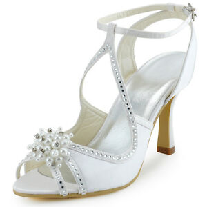 bdc22960480 EP11058 Satin Peep Toe High Heel Pearls Cross Strap Sandals Wedding ...