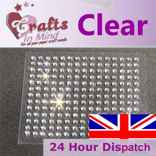 195 x 3mm Clear Rhinestone Diamante Gems Round Diamonte