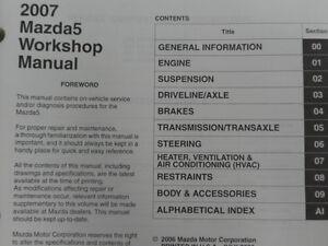 2007 Mazda 5 Mazda5 Service Repair Shop Workshop Manual Set w EWD OEM