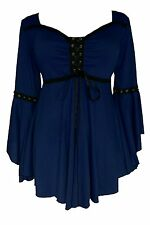 Womens Gothic Victorian Ophelia Corset Top Midnight, Navy Blue 2X - MSRP $66