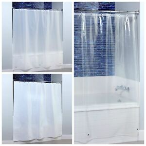 """White Shower Curtain Magnetic Liner Plastic Protective 70/"""" X 72/"""" Brand New"""