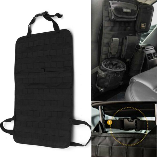 Large Tactical MOLLE Car Seat Back Organizer Pocket Panel Cover Storage Bag
