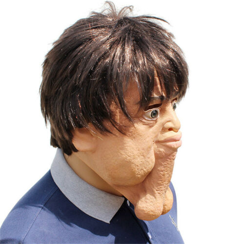 Halloween Horror Weird Head Mask Cosplay Party Costume Funny Chin Props Balls