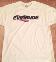 Evinrude Outboards White T-shirt Medium With Sticker Pair Decal White Race Boat