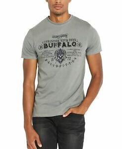 Buffalo-David-Bitton-Mens-T-Shirt-Gray-Size-2XL-Graphic-Tee-Tide-Crewneck-396