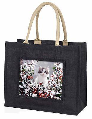 Winter Schnee Kätzchen große schwarze Einkaufstasche Weihnachten Geschenkidee,