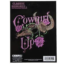 Cowgirl Up Classic Rosen Western Büffel Skull Chrom Aufkleber Decal Sticker NEU