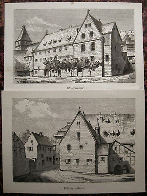 2 Originale Lithographien 1891 Frühmesserhaus GroßZüGig Kloster Maulbronn Klostermühle