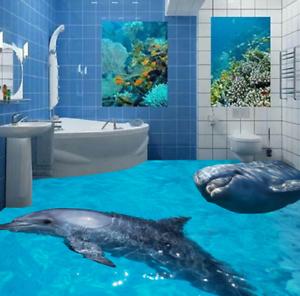 3D Two Cute Dolphins 456 Floor WallPaper Murals Wall Print Decal AJ WALLPAPER