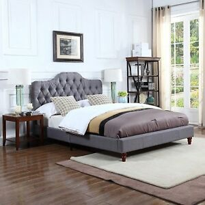 Classic Grey Tufted Fabric Headboard With Low Profile Bed Frame