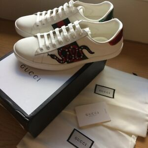 0d48c337812e Image is loading Authentic-Gucci-Ace-Embroidered-Sneakers-Snake-Size-UK10