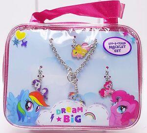 Girls-My-Little-Pony-Dream-Big-Add-a-Charm-Bracelet-Set-4-Charms-Bonus-Purse-New