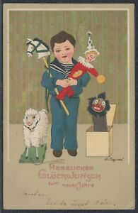 46327) Artisti AK Gertrud CASPARI bambino giocattolo nuovo anno 1904