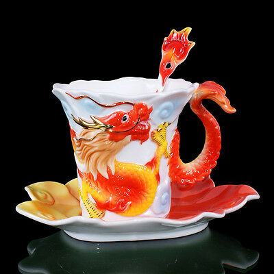 Wonderful New Porcelain Handmade Golden Red Dragon Coffee Set 1Cup1Saucer1Spoon