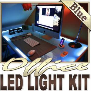 Blue Desk Hutch Drawers Laptop LED Strip Lighting Complete ...