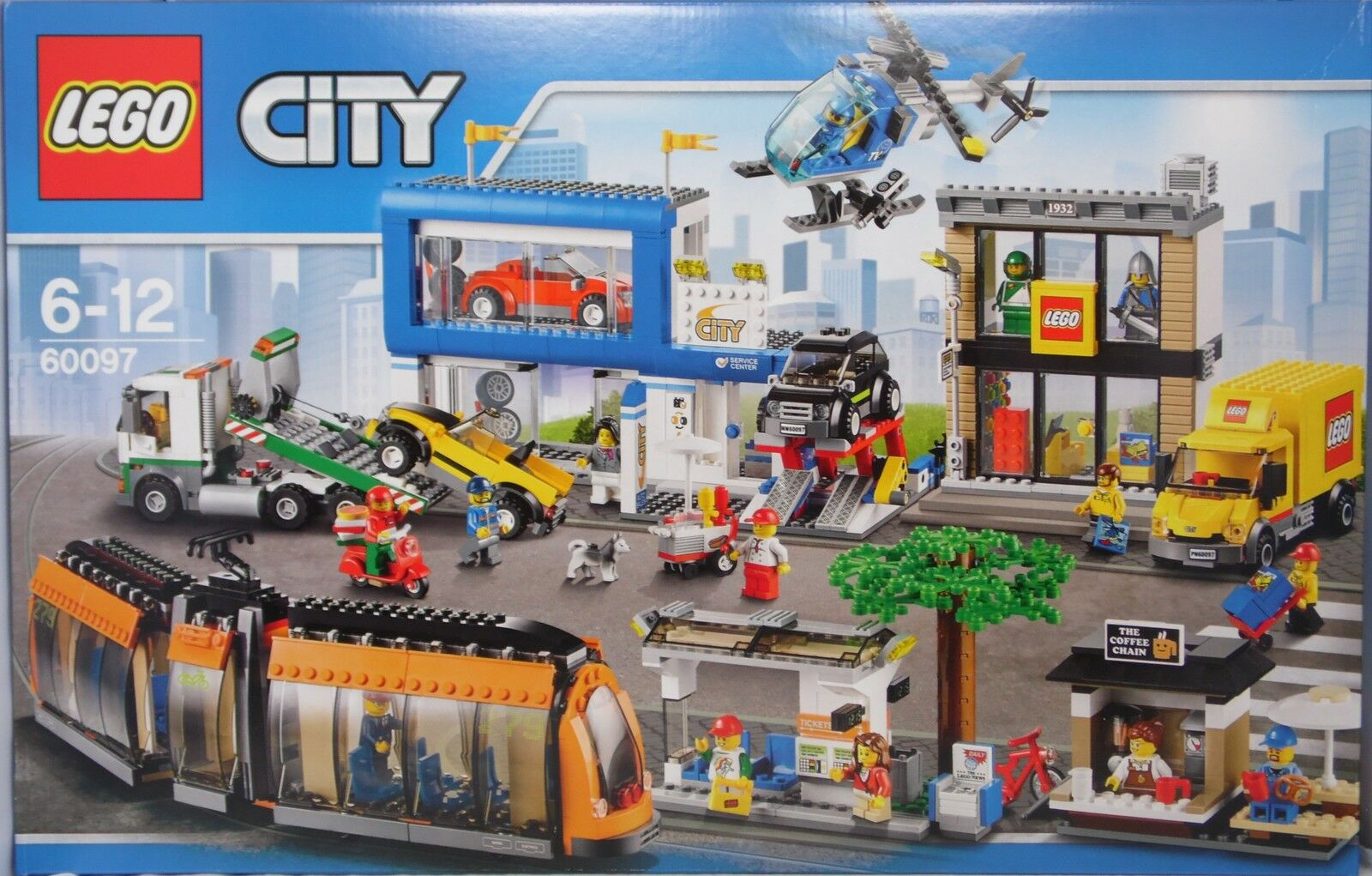 LEG City 60097 centre ville S-Bahn Heli camion Coffee-shop LEGO-Boutique Auto-Shop NEUF
