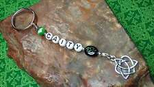 PERSONALIZED Irish SHAMROCK Sterling Silver Plated Celtic TRINITY HEART Key Ring