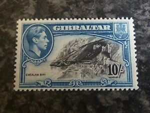 GIBRALTAR POSTAGE STAMP SG130A 10/- PERF 13 VERY LIGHTLY MOUNTED MINT