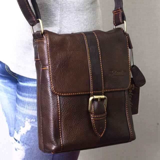 New Brown Genuine Leather Men's Women Business Messenger Shoulder Bag-6823