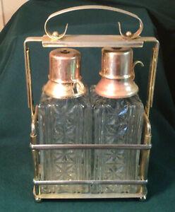 Vintage Brass Hollywood Regency Tantalus Caddy Glass Decanter Liquor Pump Spigot