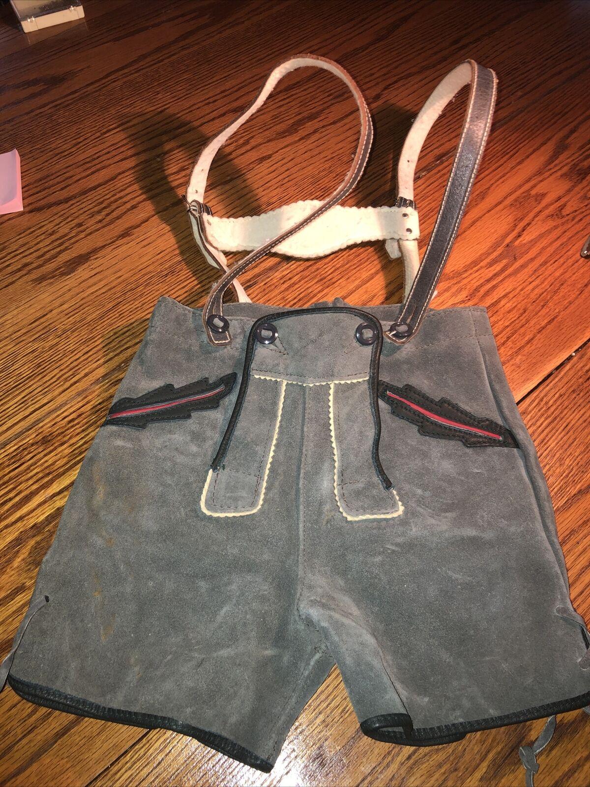 "Vtg Authentic German Lederhosen Shorts Gray Suede Oktoberfest Child/teen 24"" W"